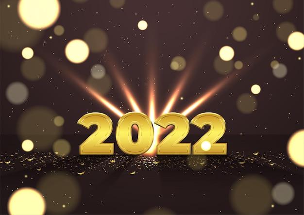 Elegantie 2022 nieuwjaarsbanner met gouden confetti en lichtgevende deeltjes op donkere achtergrond