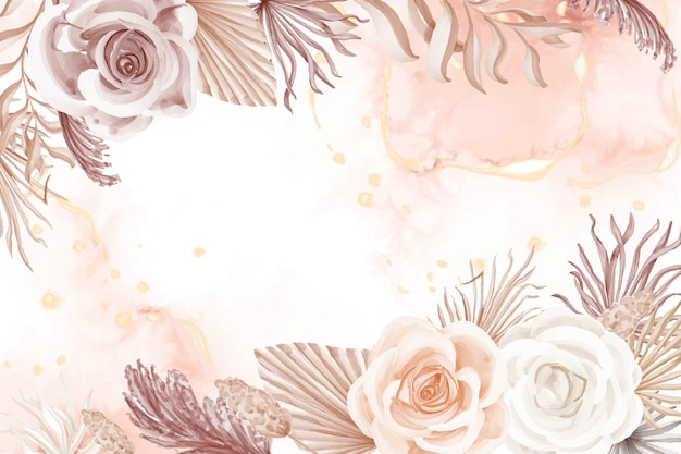 Elegantie boho-stijl roze roos bloem achtergrond