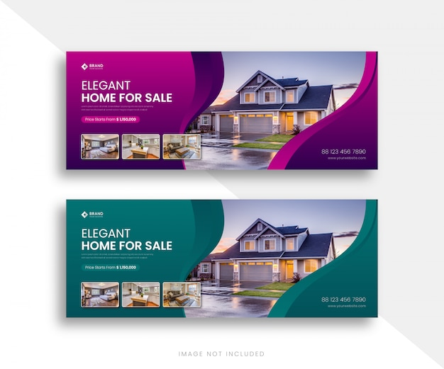 Elegent real estate facebook tijdlijn cover banner