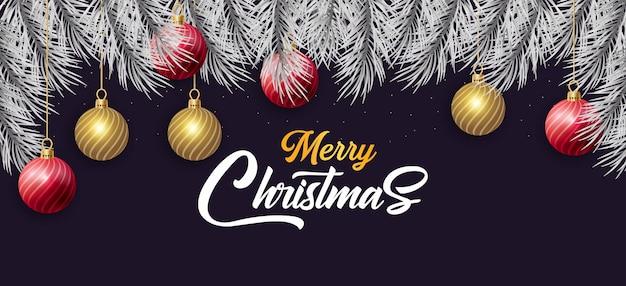 Elegent vrolijk kerstfeest achtergrond en nieuw jaar met realistische decoratie gratis vector