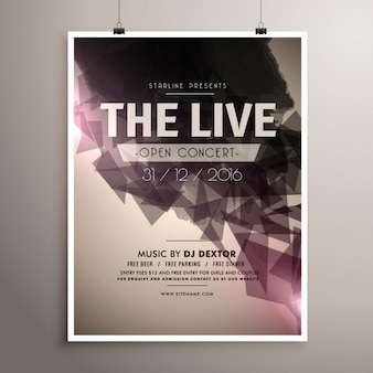 Elegrant live concert muziek flyer brochure sjabloon