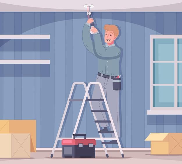Elektricien die de lichte illustratie van de woonkamer bevestigt