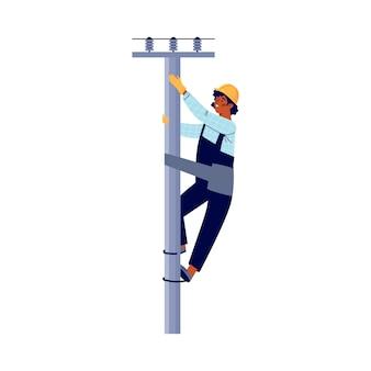 Elektricien die een paal beklimt om een platte vectorillustratie geïsoleerd op te lossen