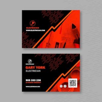 Elektricien horizontaal visitekaartje Premium Vector