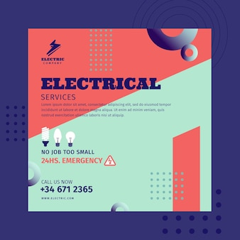 Elektricien kwadraat flyer-sjabloon