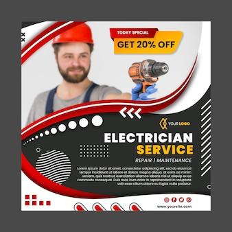 Elektricien kwadraat flyer-sjabloon