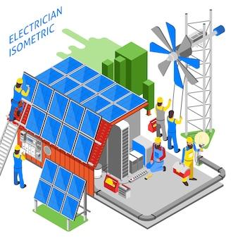 Elektricien mensen isometrische samenstelling