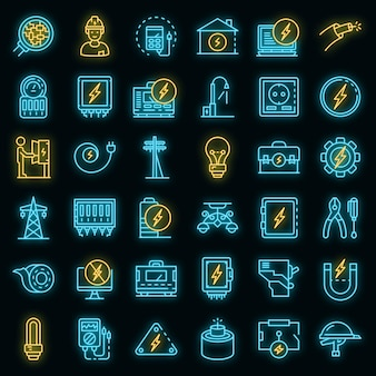 Elektricien service pictogrammen instellen. overzicht set elektricien service vector iconen neon kleur op zwart