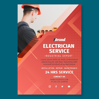 Elektricien service poster afdruksjabloon Gratis Vector