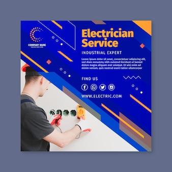 Elektricien vierkante flyer-sjabloon