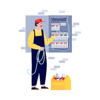 Elektricien werknemer of lijnwachter aansluiten van bedrading in schakelkast, platte vectorillustratie geïsoleerd op een witte achtergrond. elektriciteitsbedrijf diensten en onderhoud.