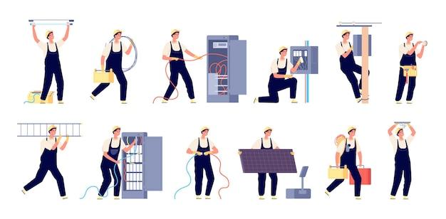 Elektriciteit arbeiders. technici diensten, professionele man in uniform. elektricien reparatie veiligheid, geïsoleerde onderhoudsingenieur vector set. elektricien en reparateur, technicus service illustratie