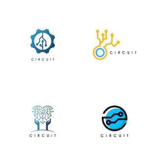 Elektriciteit circuit logo set vector