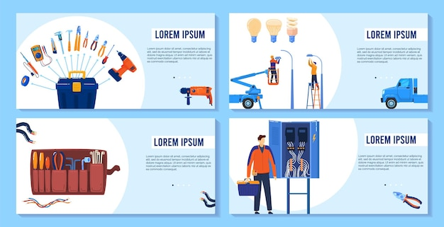 Elektriciteit, elektrisch gereedschap, apparatuurbanners decorontwerp, illustratie.