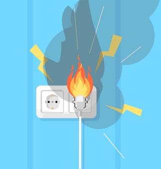Elektriciteit en vuurverdediging semi rgb-kleurenillustratie. elektrische kortsluiting. elektrische apparatuur. defecte bedrading cartoon-object op turkooizen achtergrond