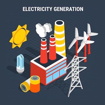 Elektriciteit isometrische gekleurde samenstelling