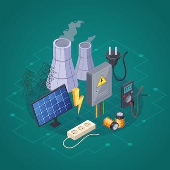 Elektriciteit isometrische samenstelling met stroom en energiesymbolen vectorillustratie