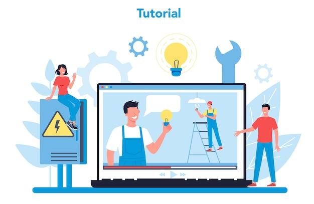 Elektriciteit werkt dienst online dienst of platform