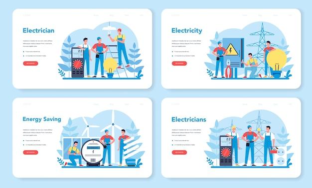 Elektriciteit werkt dienst webbanner of bestemmingspagina-set. professionele werker in het uniforme elektrische reparatie-element. technicus reparatie en energiebesparing.