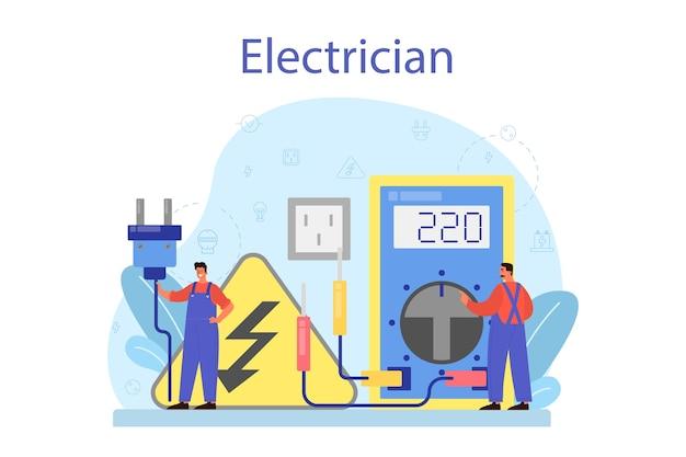 Elektriciteit werkt dienstverleningsconcept.