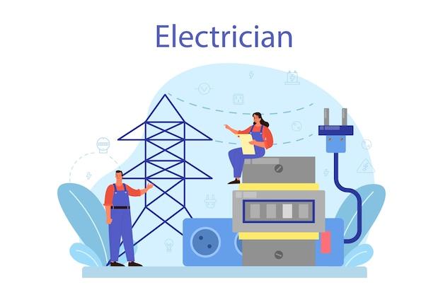 Elektriciteit werkt dienstverleningsconcept