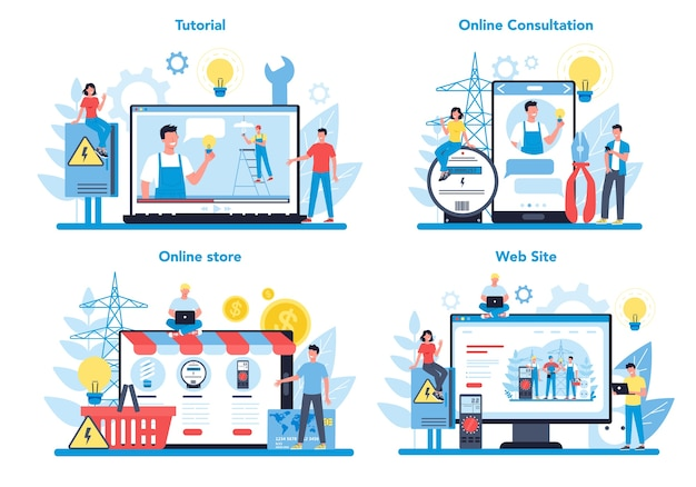 Elektriciteit werkt service online service of platform op verschillende apparaatconceptenset. online workshop, adviesgesprek of video-tutorial. technicus reparatie van elektrisch element.