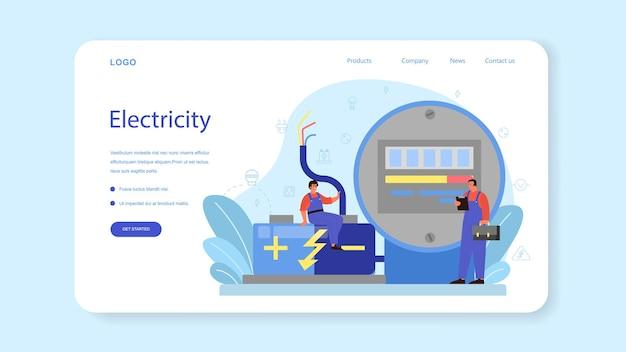 Elektriciteit werkt service websjabloon of bestemmingspagina. professionele werker in het uniforme elektrische reparatie-element. technicus reparatie en energiebesparing. geïsoleerde vectorillustratie