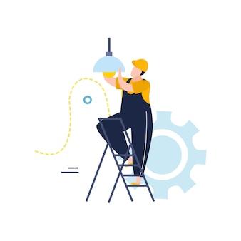 Elektriciteits- en verlichtingsillustratie in vlakke stijl met karakter van elektricien die gloeilamp verandert