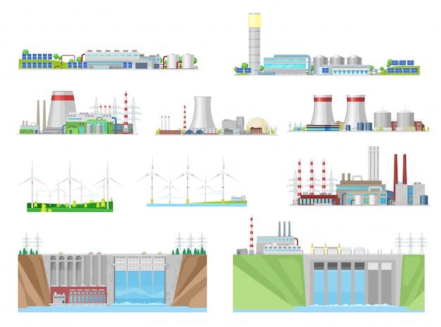 Elektriciteitscentrales en energiecentrales bouwen iconen van kernenergie, kolen, waterkracht, wind- en thermische energie, elektriciteitsindustrie. eco-windturbines, waterdammen, nucleaire en kolencentrales