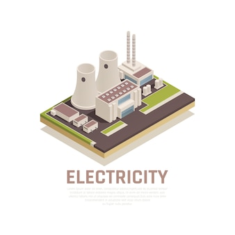 Elektriciteitsconcept met de fabrieksbouw en de industrie isometrische symbolen