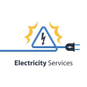Elektriciteitsdraden en hoogspanningsteken, reparatie- en onderhoudsdiensten, illustratie