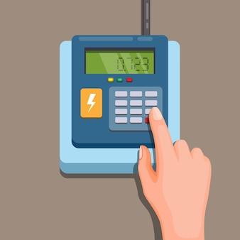 Elektriciteitsfiche. hand code invoegen om cartoon te herladen