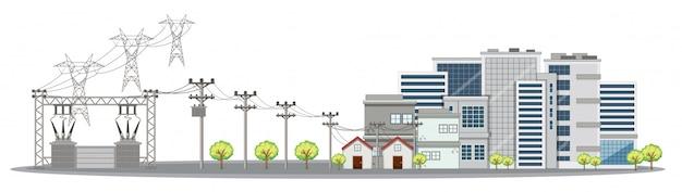 Elektriciteitspolen en gebouwen in stad