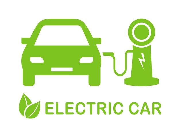Elektrisch auto tanken icoon eco auto concept met elektrische lading