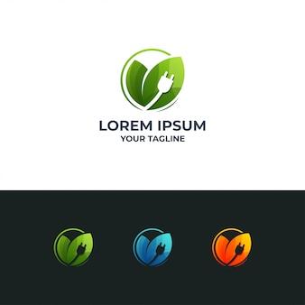 Elektrisch blad logo vector sjabloon