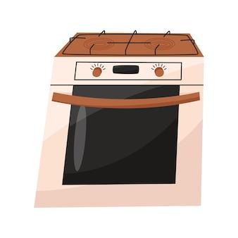 Elektrisch fornuis geïsoleerd op witte achtergrond huishoudelijke apparaten voor keuken