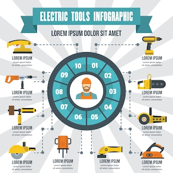 Elektrisch gereedschap infographic, vlakke stijl