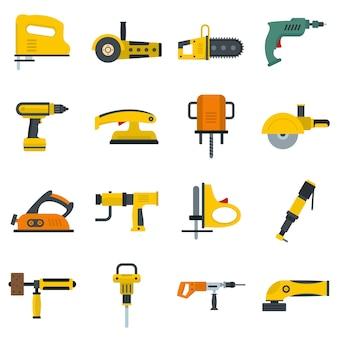 Elektrisch gereedschap pictogrammen instellen in vlakke stijl