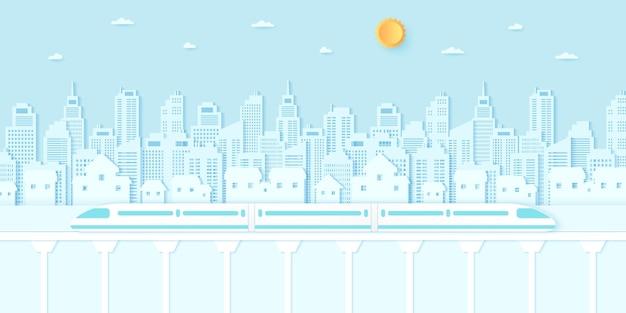 Elektrisch hogesnelheidstreinvervoer cityscape woonhuisgebouwen met blauwe lucht