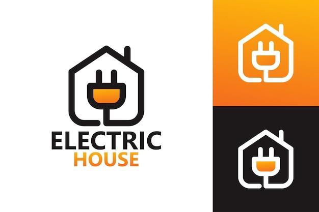 Elektrisch huis, plug logo sjabloon premium vector
