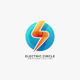 Elektrisch met cirkel abstract logo-ontwerp modern