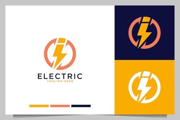 Elektrisch met letter i modern logo-ontwerp