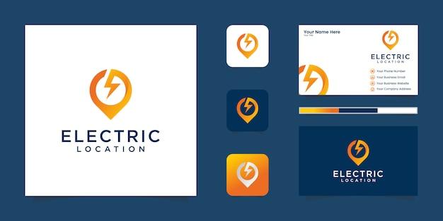 Elektrisch pin locatie logo-ontwerp en visitekaartje