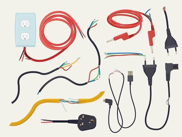 Elektrisch probleem. beschadigde communicatiekabel met verbroken stekker verbroken elektrische signaalvector