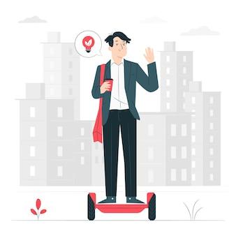 Elektrisch vervoer (niet een auto) concept illustratie