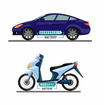 Elektrisch voertuig, auto en motorfiets met batterij bar informatie symbool concept in cartoon
