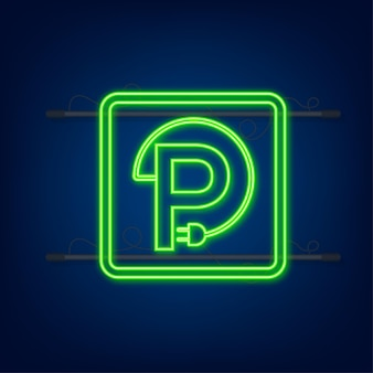Elektrisch voertuig laadstation icoon. ev lading. elektrische auto. neon icoon.