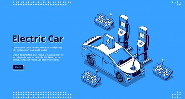Elektrische auto banner. auto op laadstation met plug-in kabel en zonnepanelen