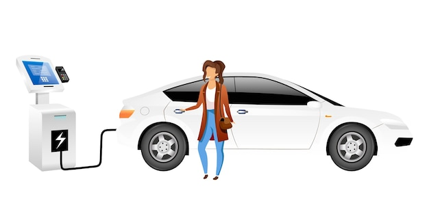 Elektrische auto bestuurder egale kleur gezichtsloos karakter. lachende vrouw bij ev laadstation geïsoleerde cartoon afbeelding voor web grafisch ontwerp en animatie. eco-vriendelijk voertuig
