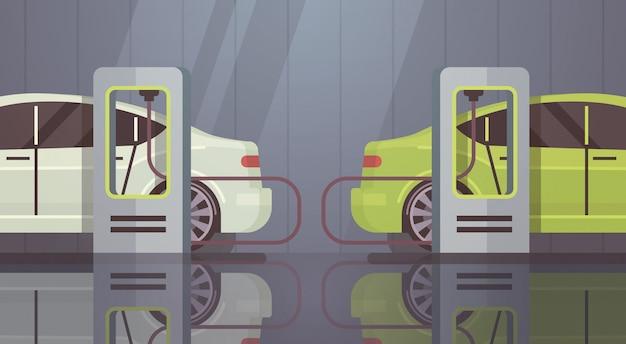 Elektrische auto bij laadstation eco-vriendelijk voertuig
